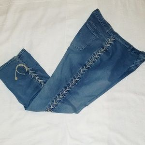 Lace Tied Plus Size Jeans - 22